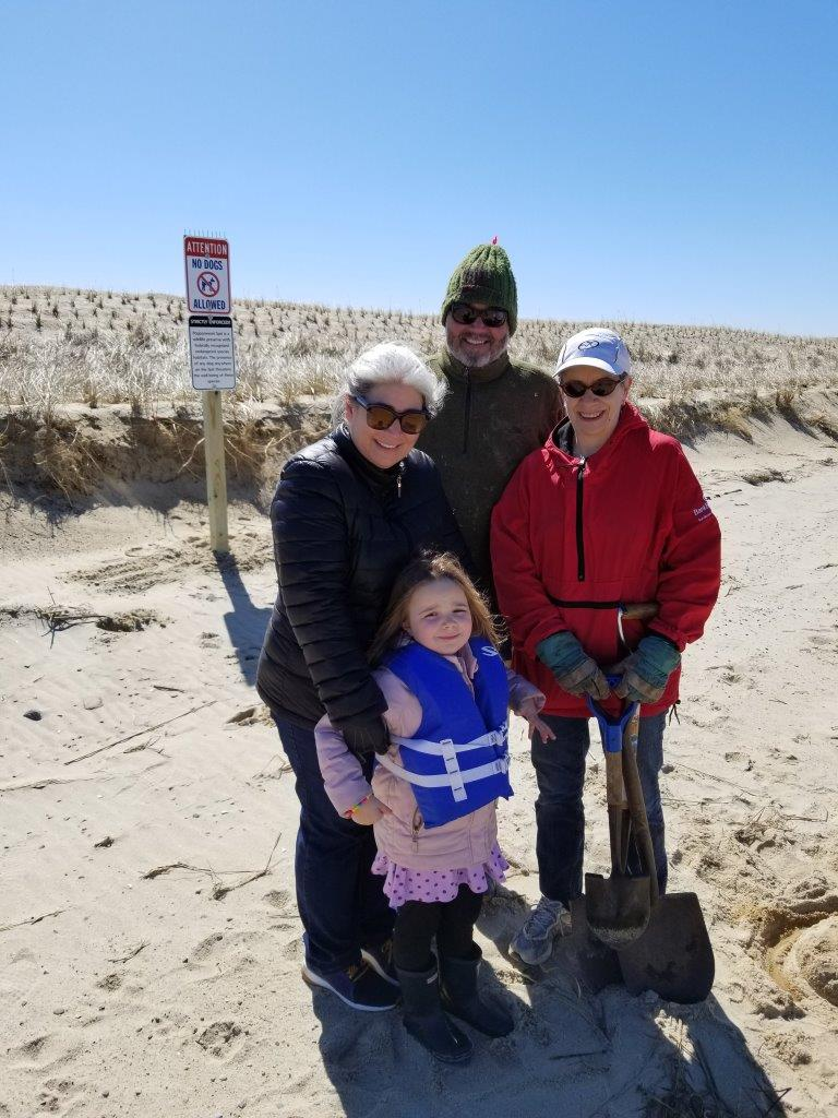 Eric, Dawn, granddaughter Grace and Mary Adams installed No Dogs Allowed signs on the SPit and Audubon land. No dogs are allowed from April 1 - September 15.